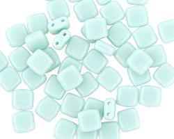 CzechMates Glass Opaque Pale Turquoise 2-Hole Tile 6mm
