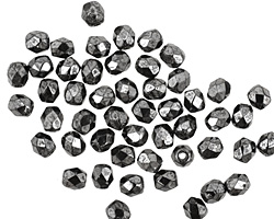 Czech Fire Polished Glass Hematite Round 3mm