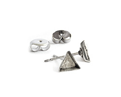 Nunn Design Antique Silver (plated) Triangle Bezel Post Earring 6mm