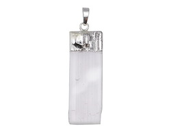 Gypsum Natural Cut Rectangular Pendant w/ Silver Finish 17-21x54-58mm