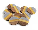 Walnut Wood & November Day Resin Banded Coin Focal 28mm