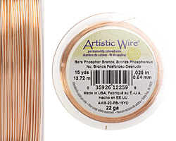 Artistic Wire Bare Phosphor Bronze 22 gauge, 15 yards