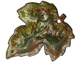 C-Koop Enameled Metal Fern Green Large Maple Leaf 40x46mm