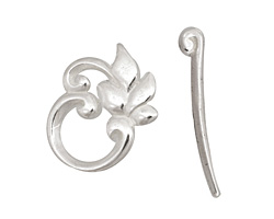 Silver (plated) Ivy Leaf Toggle Clasp 22x19mm, 29mm bar