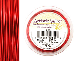 Artistic Wire Red 22 gauge, 15 yards