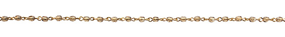 Czech Fire Polished Smoky Topaz Faceted Oval Gold (plated) Bead Chain