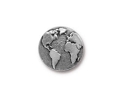 TierraCast Antique Silver (plated) Earth Button 16mm