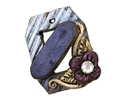 Poison Tree Polymer Clay Blue Flower Toggle Clasp 24x20mm, 21mm bar