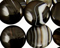 Black Sardonyx Puff Coin 20mm