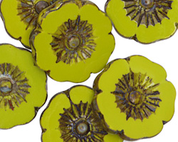 Czech Glass Chartreuse Picasso Hibiscus Coin 22mm