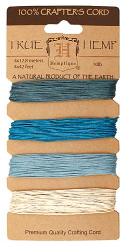 Shades of Aquamarine Hemp Twine 10 lb, 42 ft x 4 colors