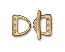 TierraCast Gold (plated) 3 Hole D Ring Clasp Set 14x15mm, 21mm bar