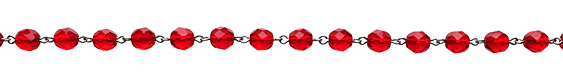 Czech Fire Polished Siam Faceted Round Silver (plated) Bead Chain