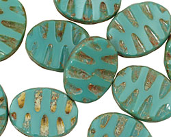 Czech Glass Turquoise Groovy Oval 18x14mm