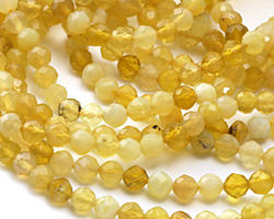 Yellow Opal (A) Faceted Round 4mm
