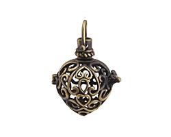 Antique Brass (plated) Filigree Heart Diffuser Locket 25x35mm