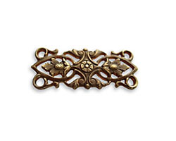 Vintaj Natural Brass Acorn Leaves 4-Hole Connector 30x12mm