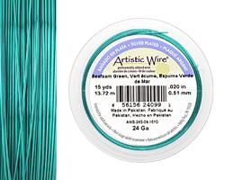 Artistic Wire Silver Plated Seafoam Green 24 gauge, 15 yards