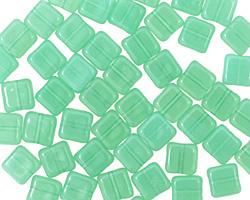 Czech Glass Milky Peridot Square 6mm