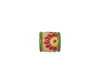 Golem Studio Red Daisies Carved Ceramic Tube Bead 12x10.5mm