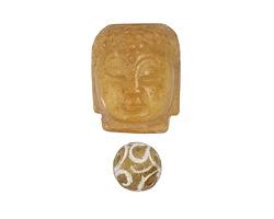 Yellow Soochow Jade Carved Buddha Head 21-22x28mm & Round 14mm
