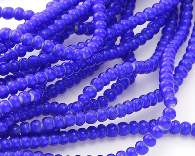 African Trade Beads Cobalt White Heart Glass 2-3mm