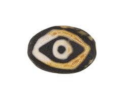 Tibetan (Dzi) Agate Black Evil Eye Flat Focal 30x20mm