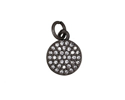 Clear Pave CZ Gunmetal (plated) Coin Charm 9x15mm