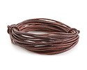 Natural Antique Brown Round Leather Cord 2mm, 16 feet