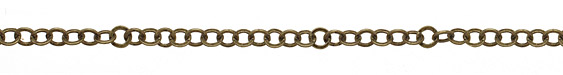 Antique Brass (plated) Flat Ring Cable Chain 8mm