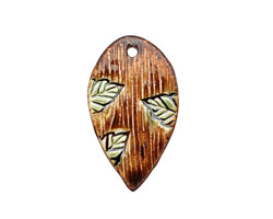 Earthenwood Studio Ceramic Lumber Leaf Pendant 27-28x48-50mm