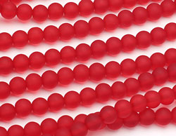 Cherry Red Recycled Glass Round 8mm