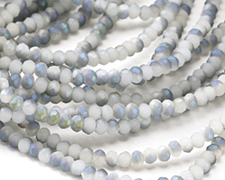 Matte White Opal w/ Blue AB Crystal Faceted Rondelle 3mm