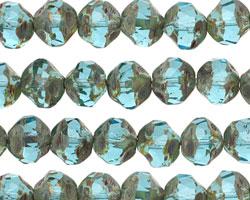 Czech Glass Aquamarine Picasso Chandelier Cut 8mm