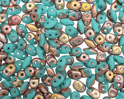 Matte Apollo Turquoise SuperDuo 2x5mm Seed Bead