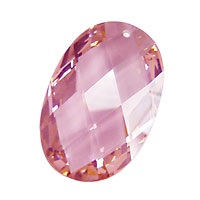 Pink Peony Faceted Oval 20x30mm