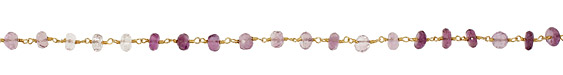 Amethyst Faceted Rondelle Gold (plated) Bead Chain