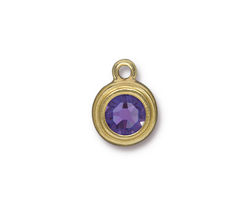 TierraCast Gold (plated) Stepped Bezel Drop w/ Tanzanite Crystal 12x17mm