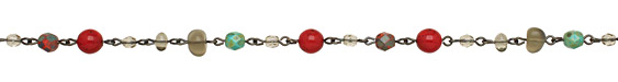 Czech Glass Fall Berries Gunmetal (plated) Bead Chain