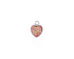 Metallic Hot Pink Crystal Druzy Heart Charm in Silver Finish Bezel 8x10mm