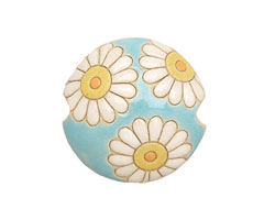 Golem Studio Daisies on Blue Carved Ceramic Lentil 23mm