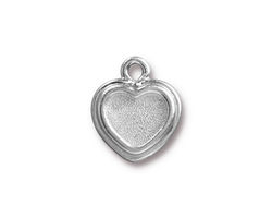 TierraCast Rhodium (plated) Stepped Heart Bezel Charm 15x17mm