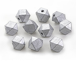 Metallic Silver Wood Faceted Nugget 14mm