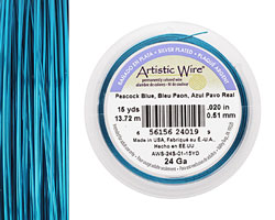 Artistic Wire Silver Plated Peacock Blue 24 gauge, 15 yards