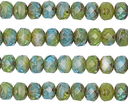 Czech Glass Peruvian Opal Picasso Fire Polished Rondelle 5x7mm