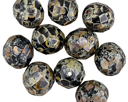 Czech Fire Polished Glass Dark Garden Round 12mm