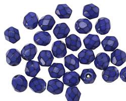 Czech Fire Polished Glass Blue Round Snake Beads 6mm