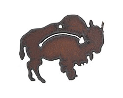 The Lipstick Ranch Rusted Iron Guiding Buffalo Pendant 48x37mm