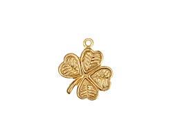 Brass 4 Leaf Clover Charm 15mm