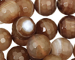Amber Line Agate Faceted Round 14mm